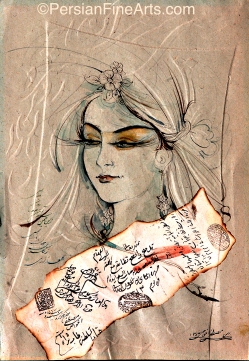 Girl Nail Calligraphy and Collage 21x30 cm